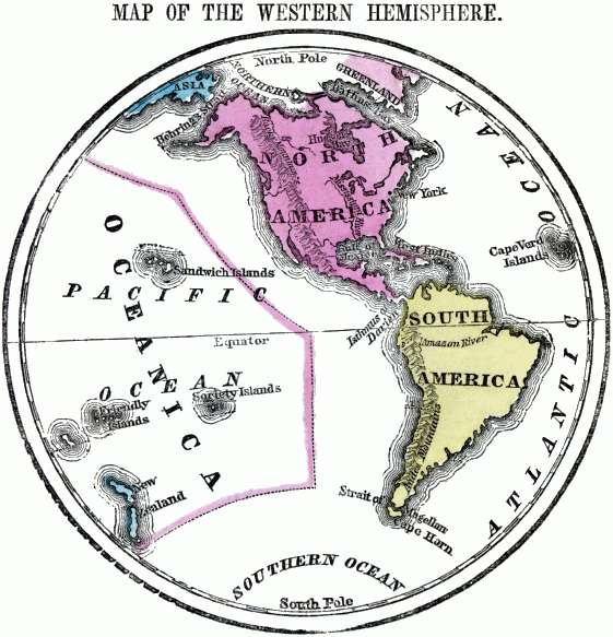 Projection map of the Western Hemisphere.