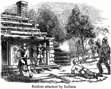 A battle in front of a cabin.