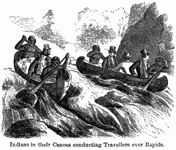 Two canoes full of dressed-up men and their Indian pilots maneuvering between rocks on a river.