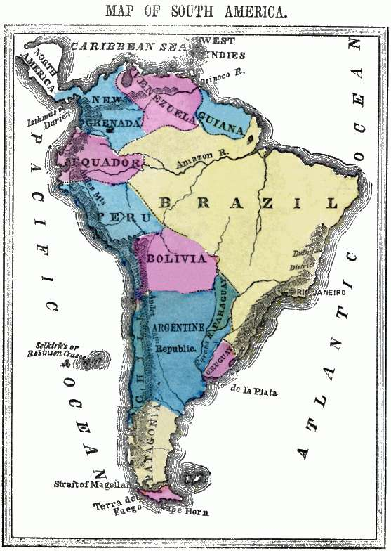 Flat map of South America.