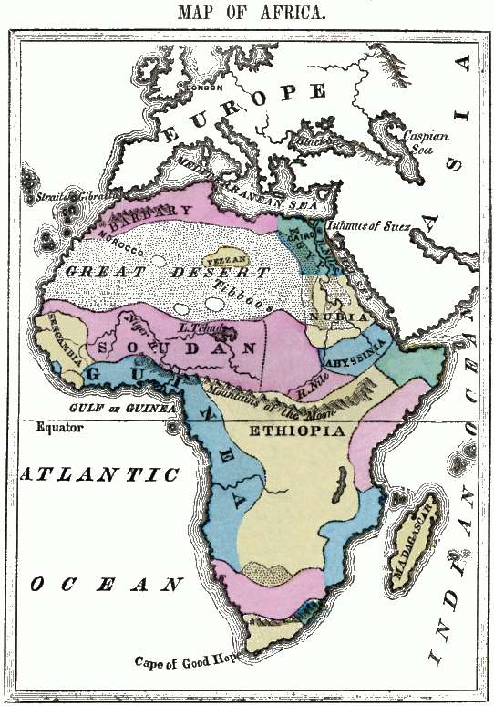 Flat map of Africa.